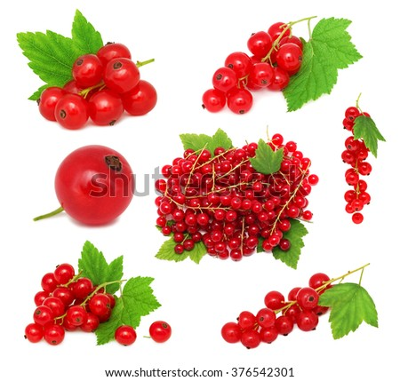 Set ripe redcurrant berries with green leaves isolated on white background