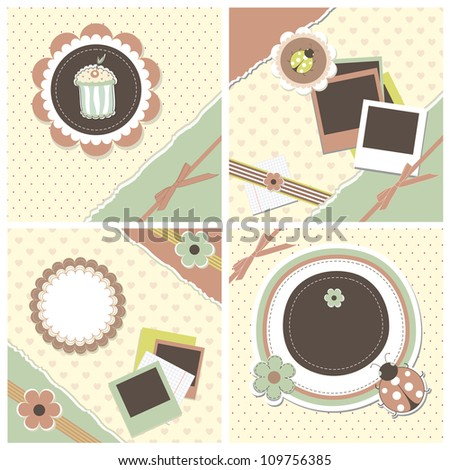 Set romantic scrapbooking for invitation, greeting, birthday, label, old postcard, congratulation, design element, retro pattern, texture frame, vintage wallpaper, print gift  raster, vector available - stock photo