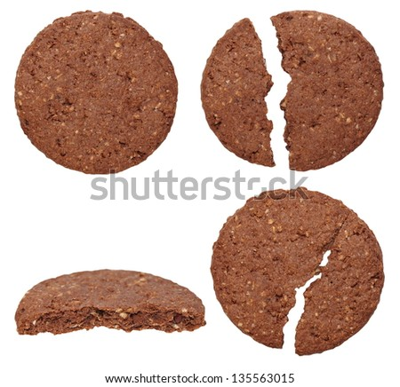 set round wholewheat biscuits with cocoa isolated on white background - stock photo