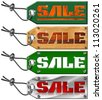 Set Sale Tags on White Background / Metallic green and wooden tags with steel cable and written sale - stock photo