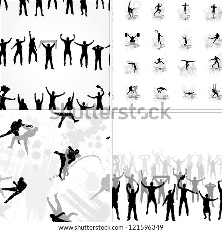 Set seamless background from sport silhouettes. Raster version - stock photo