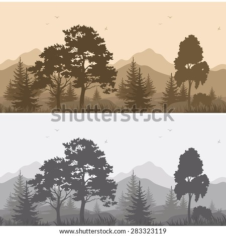 Set Seamless Horizontal Landscapes, Mountains with Trees and Grass, Birds in the Sky, Gray and Brown Silhouettes.  - stock photo