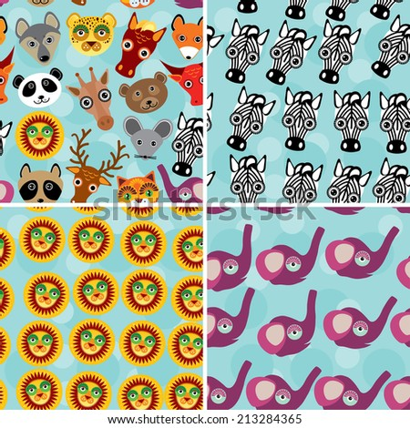 Set 4 Seamless pattern with funny cute animal face on a blue background. - stock photo