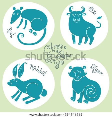 Set signs of the Chinese zodiac Rat, Ox, Rabbit, Tiger. - stock photo