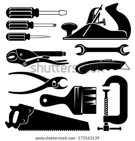 set silhouette images of hend tools