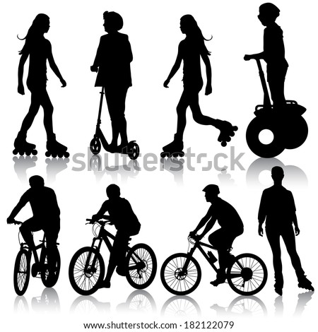 Set silhouette of a cyclist.   illustration.