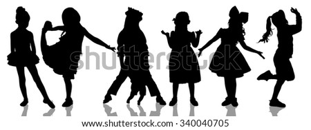 Set silhouettes of little cute girl isolated on white - stock photo