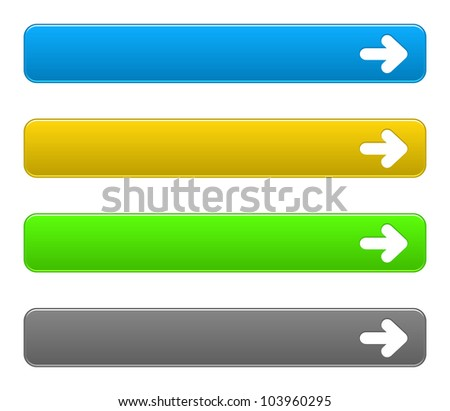 Set simple buttons with arrow symbol on a white background