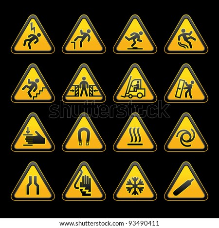 Set simple triangular warning symbols Hazard Signs - stock photo