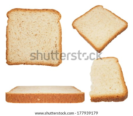 Set sliced bread isolated on white background (high resolution) - stock photo