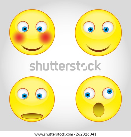 set - smiley faces expressing different feelings - stock photo