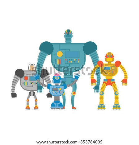 Set space robots. Cyborgs invaders. Humanoid machines with artificial intelligence and iron body. - stock photo