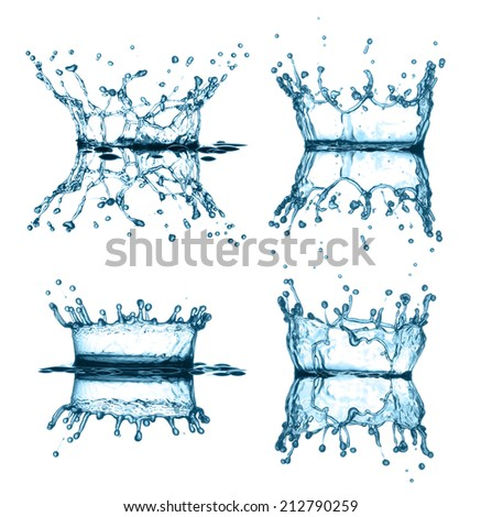 Set splash water isolated on a white background  - stock photo
