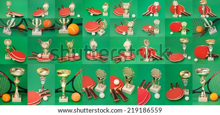 Set sports awards tennis on a green table - stock photo