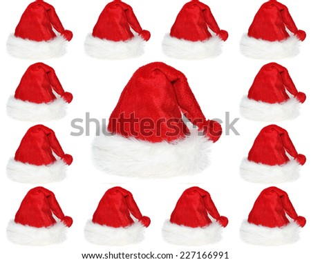 set square compound with Christmas hats on white background - stock photo