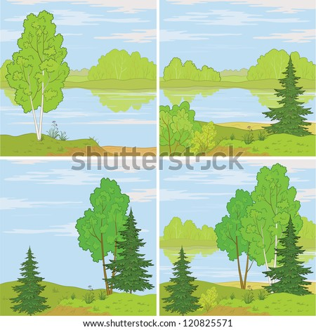 Set summer landscapes: forest, river and the blue sky with white clouds. - stock photo