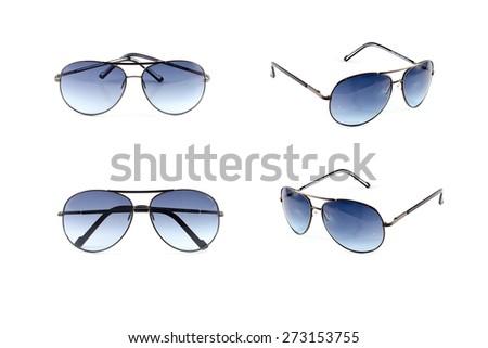 Set Sunglasses isolated on white background. - stock photo