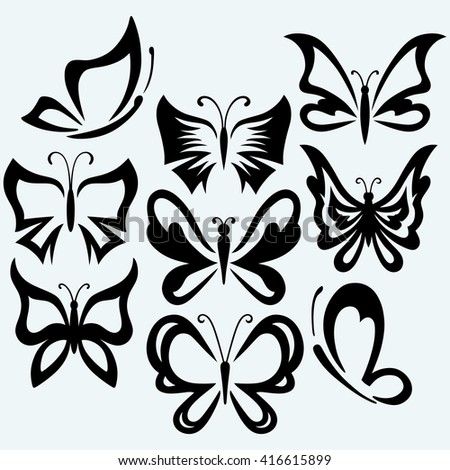 Set symbol butterflies. Isolated on blue background. Raster version - stock photo