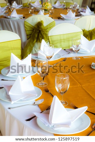 set tables with party favors - stock photo