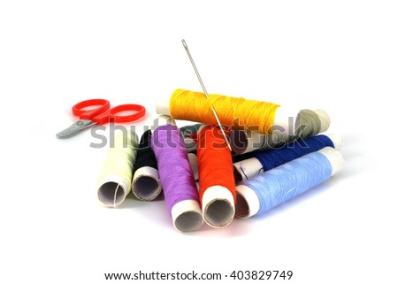 Set tailoring accessories on a white background - stock photo
