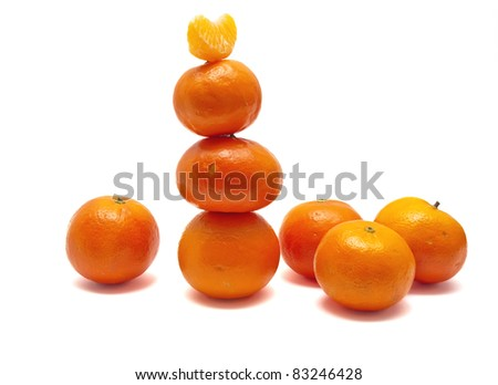 Set tangerines on a white background