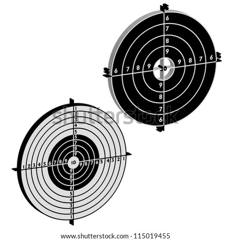 Set targets for practical pistol shooting, exercise.  illustration