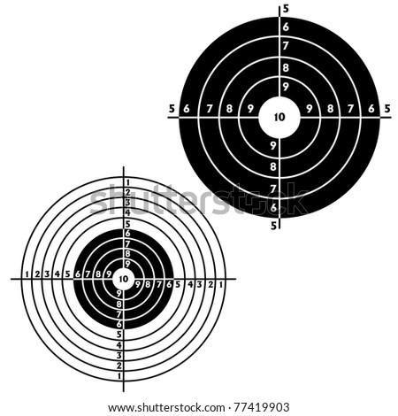Set targets for practical pistol shooting, exercise.  illustration - stock photo