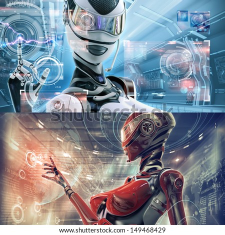 Set template of two. Modern designed datacenter. Futuristic female android managing virtual interface in digital space - stock photo