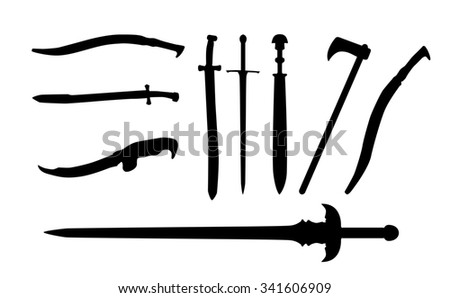 Set the Sword, Swords, Ax and Machete. Illustration