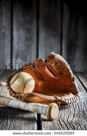Set to play little league in baseball - stock photo