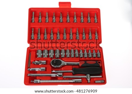 Set tools box isolated on red background
