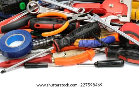 set tools isolated on white background - stock photo