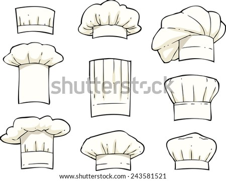 Set toques on a white background raster version
