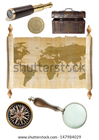 Set Travel isolated over a white background - stock photo