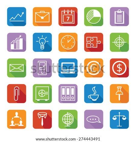 Set twenty five flat colored icons a business and office/Set of colored icons a business and office/Set twenty five flat colored icons - stock photo