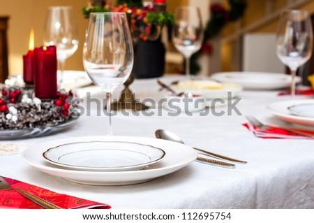 Set up christmas table inside a house & Set Christmas Table Inside House Stock Photo (100% Legal Protection ...