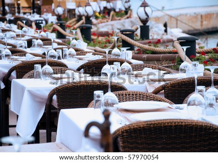 set up tables in the restaurant