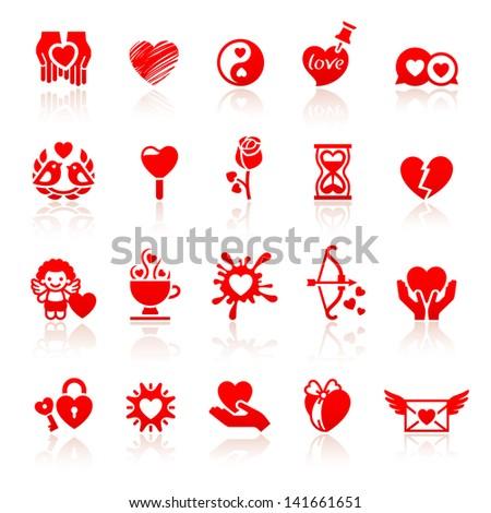 Set valentine's day red icons, love romantic symbols. Rasterized versions (copy) - stock photo