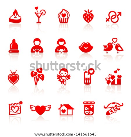 Set valentine's day red icons with hearts. Rasterized versions (copy)