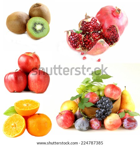 Set various berries and fruits (apples, figs,kiwi, pomegranate and citrus ) - stock photo