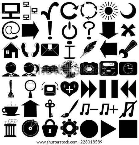 Set various icons, computer signs and buttons, black silhouettes isolated on white background. - stock photo