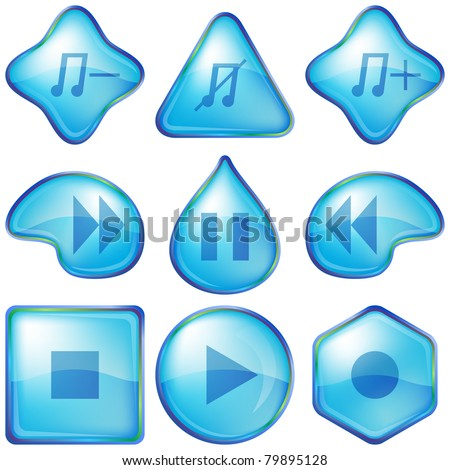 Set various icons, water media player playback buttons - stock photo