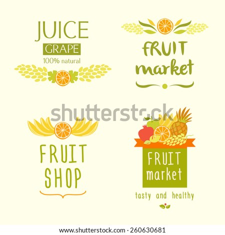 Set vector logo for a store of fruits, fruit juice labels. Guaranteed quality and fresh fruit. Juise label - stock photo