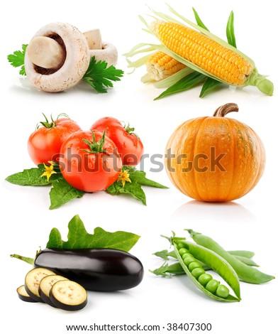 set vegetable fruits isolated on white background - stock photo
