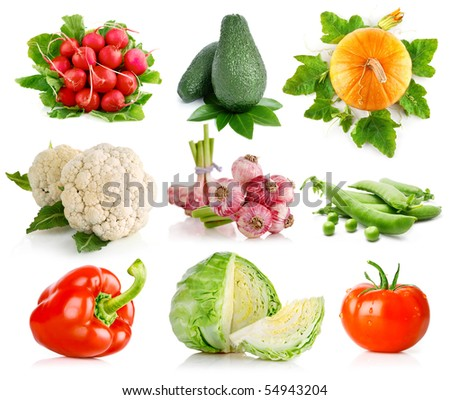 set vegetables with green leaves isolated on white background - stock photo