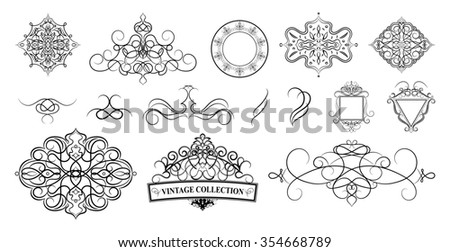 Set vintage borders, frame and rosette.  Decoration for logo, wedding album or restaurant menu. Ornate swirl leaves, label, curved lines and decor elements in raster. - stock photo