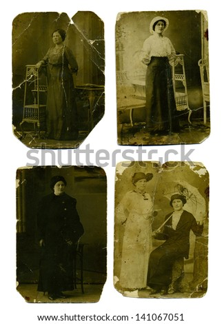 Set vintage studio photos of women from the 19th century - stock photo