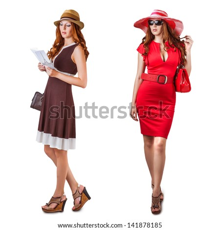 Set - Vogue Dresses and accessories of young fashion woman - stock photo