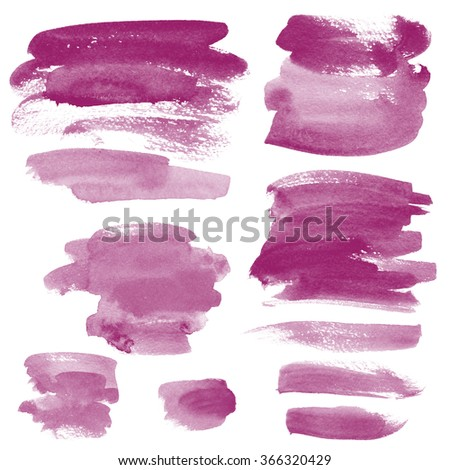 Set watercolor blobs, isolated on white background. Shape design blank watercolor colored rounded shapes web buttons on white background. Divorces paint. Red wine. Marsala - stock photo