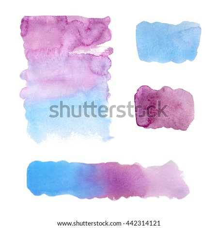 Set watercolor blobs, isolated on white background. Shape design blank watercolor colored rounded shapes web buttons on white background. Divorces paint. Blue. Marsala. Red wine. Gradient